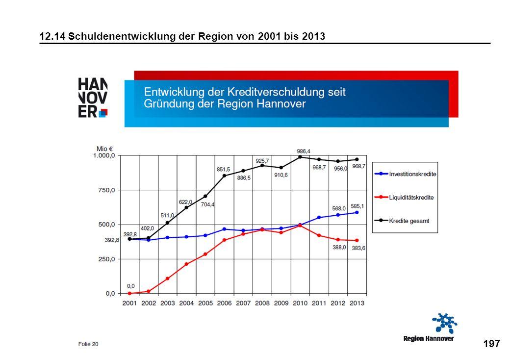 197 12.14 Schuldenentwicklung der Region von 2001 bis 2013