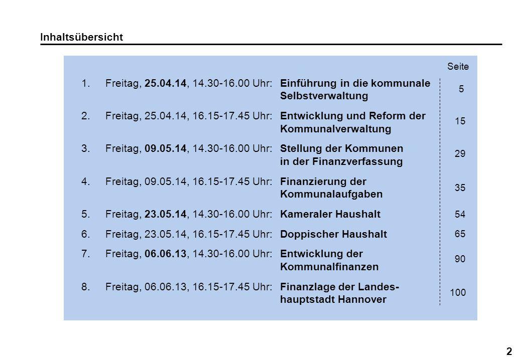 2 Inhaltsübersicht 1.Freitag, 25.04.14, 14.30-16.00 Uhr:Einführung in die kommunale Selbstverwaltung 2.Freitag, 25.04.14, 16.15-17.45 Uhr:Entwicklung