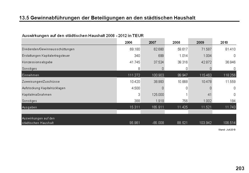 203 13.5 Gewinnabführungen der Beteiligungen an den städtischen Haushalt