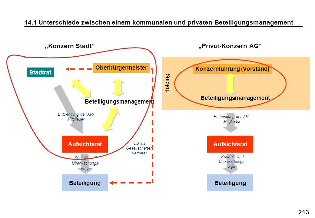 213 14.1 Unterschiede zwischen einem kommunalen und privaten Beteiligungsmanagement Holding Konzern StadtPrivat-Konzern AG Beteiligung Konzernführung