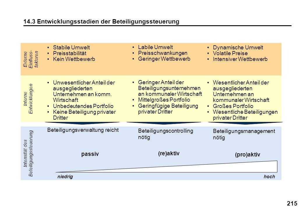 215 14.3 Entwicklungsstadien der Beteiligungssteuerung Interne Entwicklungen Intensität des Beteiligungssteuerung Externe Einfluss- faktoren Labile Um