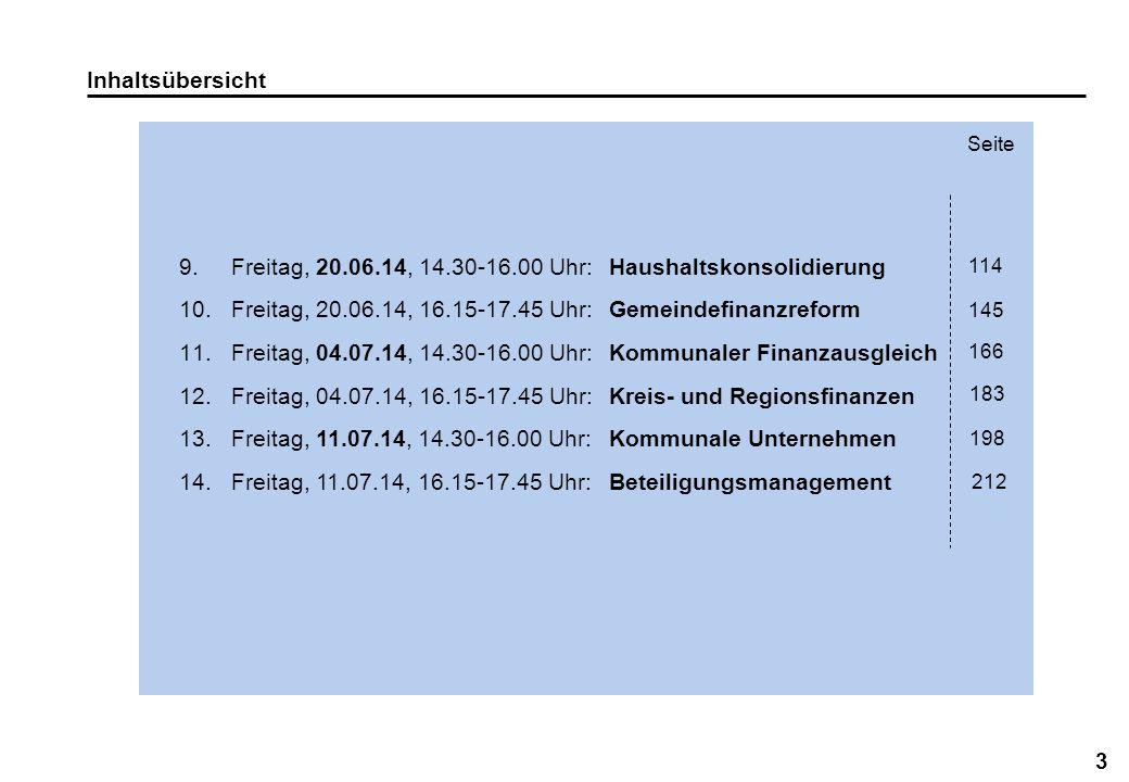 3 Inhaltsübersicht 9.Freitag, 20.06.14, 14.30-16.00 Uhr:Haushaltskonsolidierung 10.Freitag, 20.06.14, 16.15-17.45 Uhr:Gemeindefinanzreform 11.Freitag,