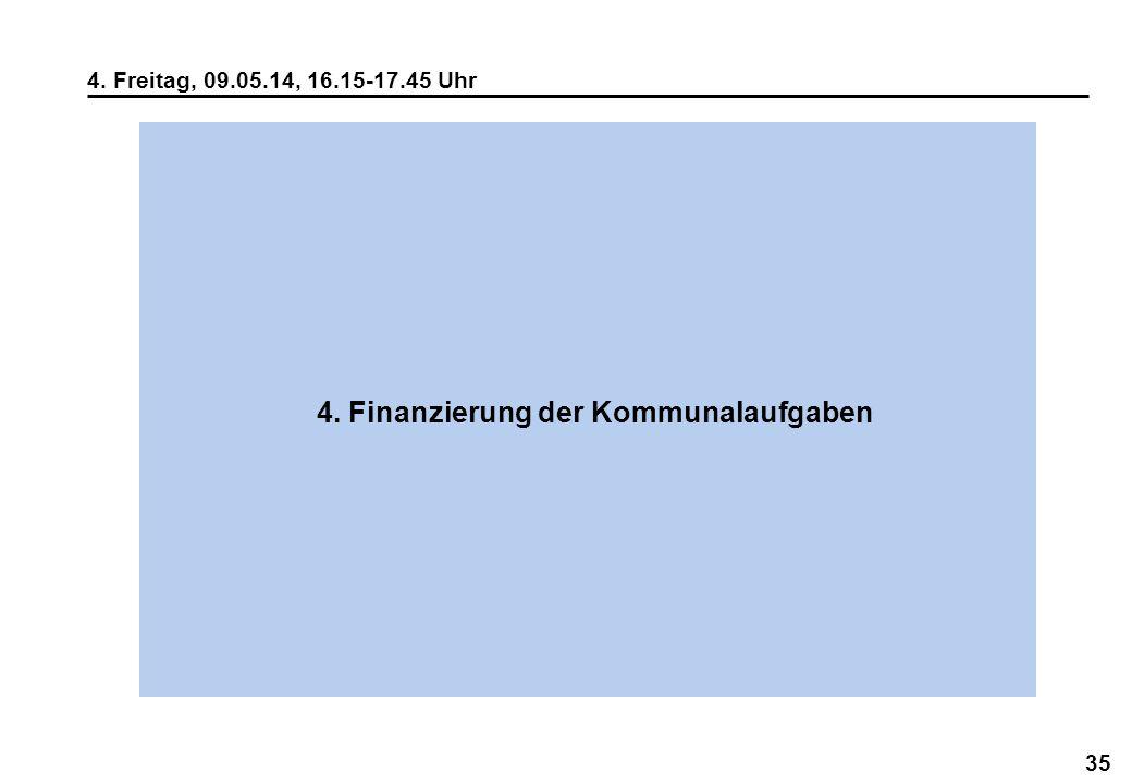 35 4. Freitag, 09.05.14, 16.15-17.45 Uhr 4. Finanzierung der Kommunalaufgaben