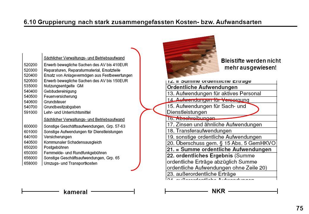 75 6.10 Gruppierung nach stark zusammengefassten Kosten- bzw. Aufwandsarten Bleistifte werden nicht mehr ausgewiesen! kameral NKR