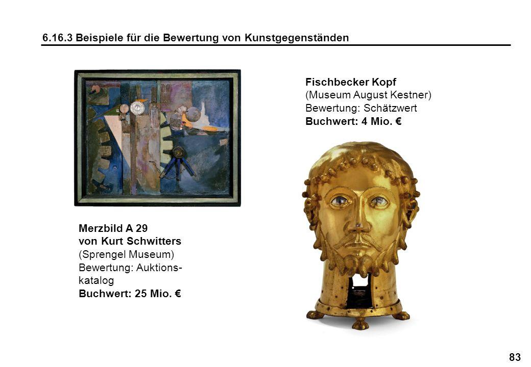 83 6.16.3 Beispiele für die Bewertung von Kunstgegenständen Fischbecker Kopf (Museum August Kestner) Bewertung: Schätzwert Buchwert: 4 Mio. Merzbild A