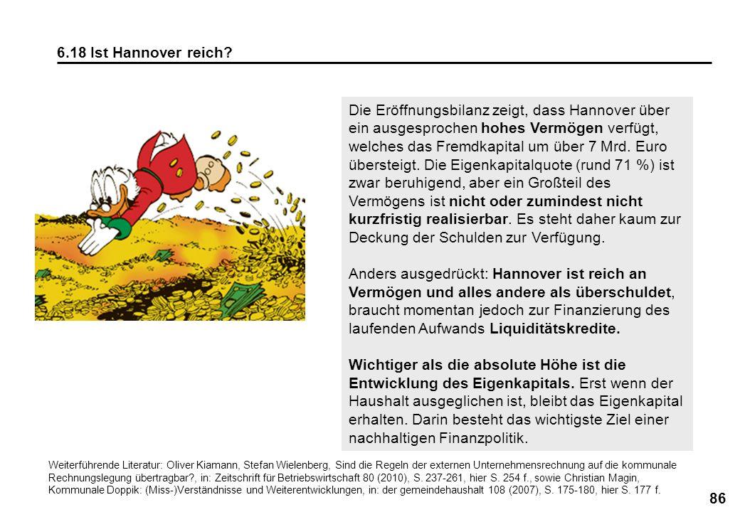 86 6.18 Ist Hannover reich? Die Eröffnungsbilanz zeigt, dass Hannover über ein ausgesprochen hohes Vermögen verfügt, welches das Fremdkapital um über