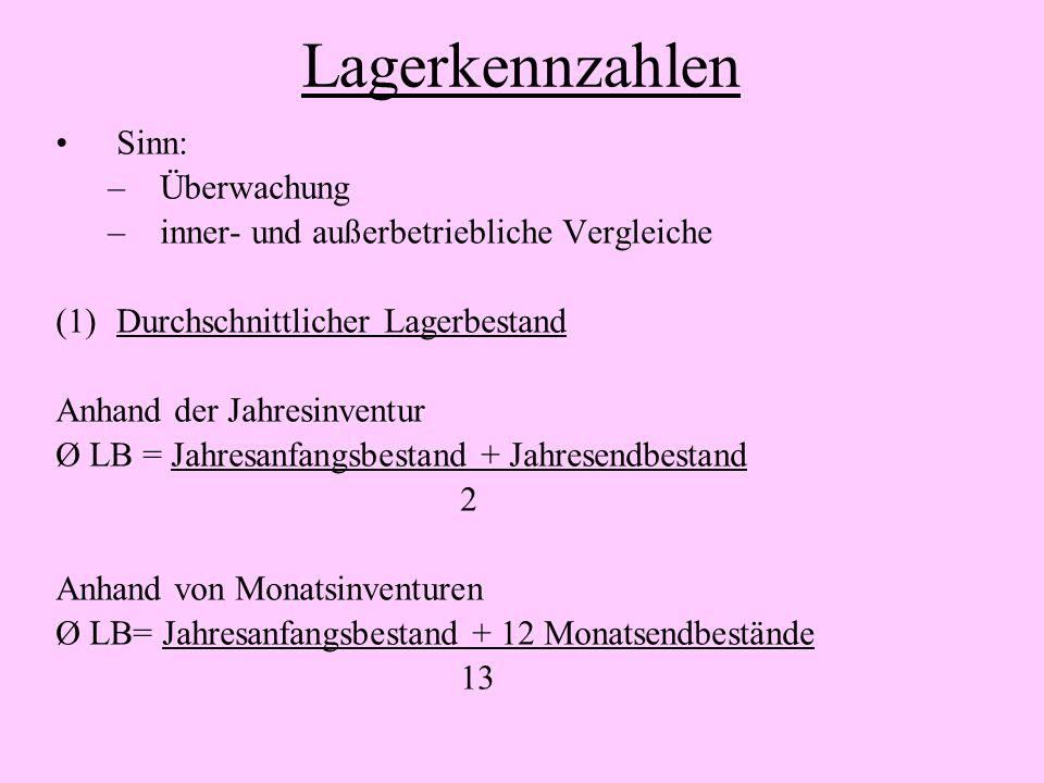 Lagerkennzahlen Sinn: –Überwachung –inner- und außerbetriebliche Vergleiche (1)Durchschnittlicher Lagerbestand Anhand der Jahresinventur Ø LB = Jahres