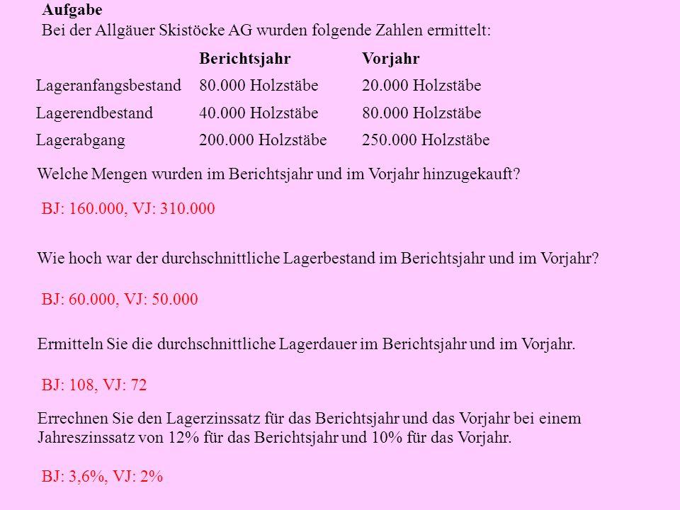 Aufgabe Bei der Allgäuer Skistöcke AG wurden folgende Zahlen ermittelt: 250.000 Holzstäbe200.000 HolzstäbeLagerabgang 80.000 Holzstäbe40.000 Holzstäbe