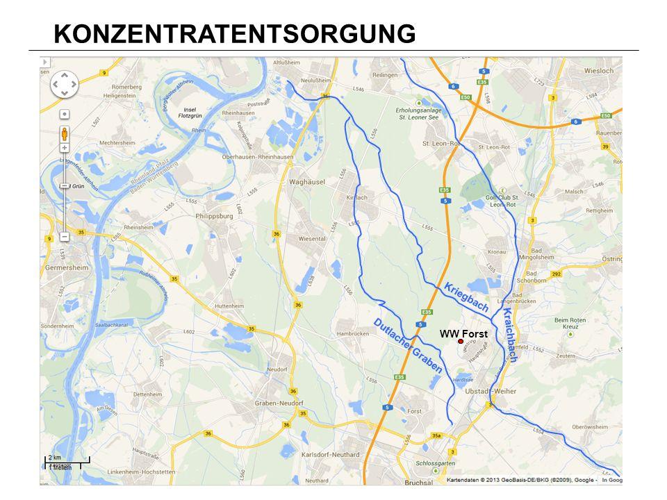 WW Forst Kriegbach Kraichbach Dutlacher Graben WW Forst KONZENTRATENTSORGUNG