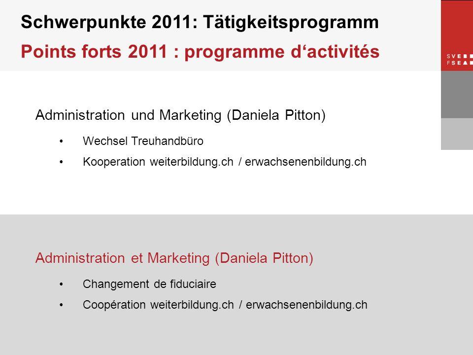 © SVEB/FSEA Administration und Marketing (Daniela Pitton) Wechsel Treuhandbüro Kooperation weiterbildung.ch / erwachsenenbildung.ch Schwerpunkte 2011: