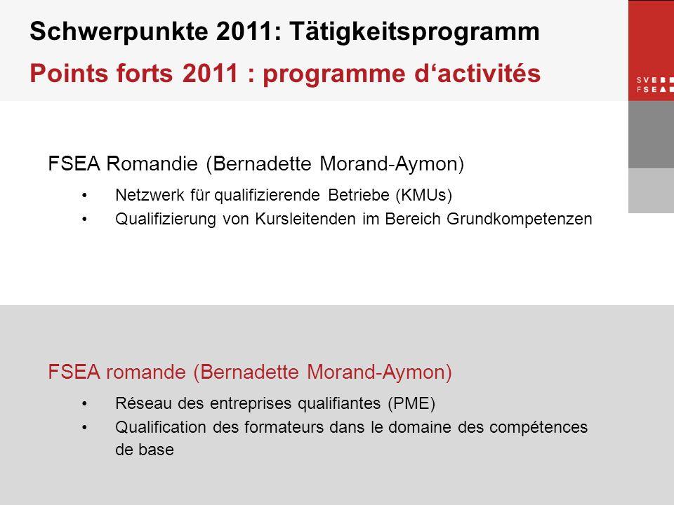 © SVEB/FSEA FSEA Romandie (Bernadette Morand-Aymon ) Netzwerk für qualifizierende Betriebe (KMUs) Qualifizierung von Kursleitenden im Bereich Grundkom