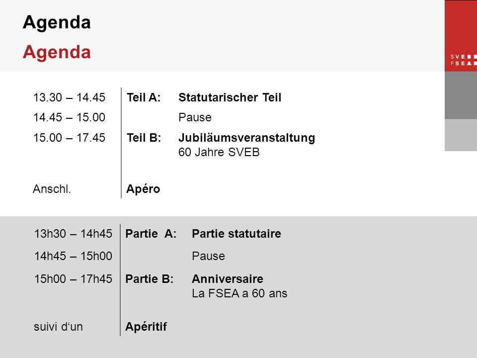 © SVEB/FSEA Agenda 13.30 – 14.45Teil A:Statutarischer Teil 14.45 – 15.00Pause 15.00 – 17.45Teil B:Jubiläumsveranstaltung 60 Jahre SVEB Anschl.Apéro 13