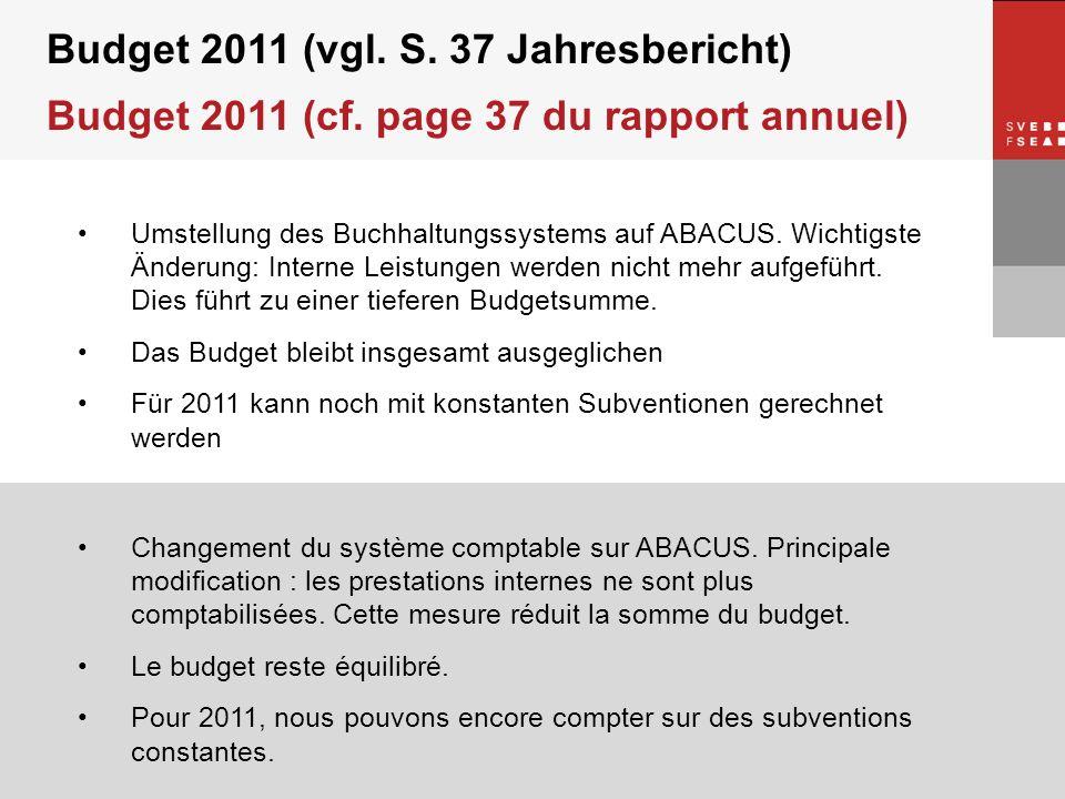 © SVEB/FSEA Budget 2011 (vgl. S. 37 Jahresbericht) Budget 2011 (cf. page 37 du rapport annuel) Umstellung des Buchhaltungssystems auf ABACUS. Wichtigs