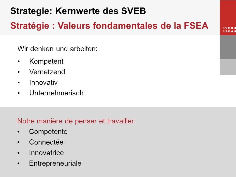 © SVEB/FSEA Strategie: Kernwerte des SVEB Stratégie : Valeurs fondamentales de la FSEA Wir denken und arbeiten: Kompetent Vernetzend Innovativ Unterne
