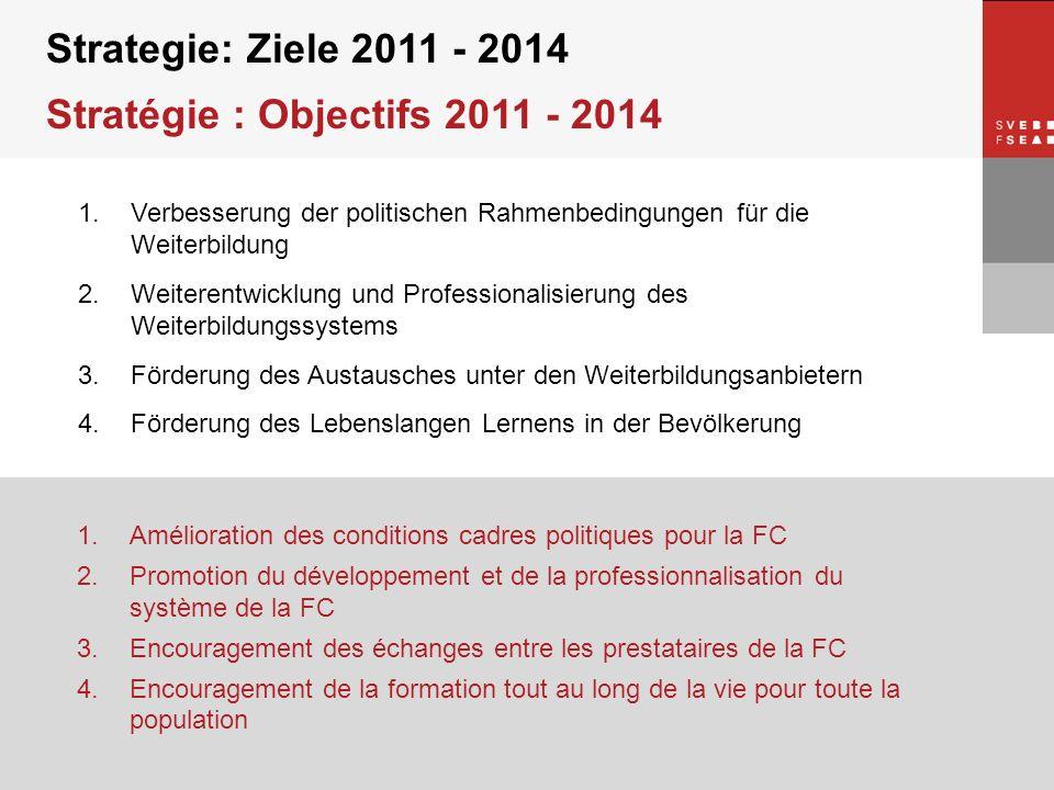 © SVEB/FSEA Strategie: Ziele 2011 - 2014 Stratégie : Objectifs 2011 - 2014 1.Verbesserung der politischen Rahmenbedingungen für die Weiterbildung 2.We