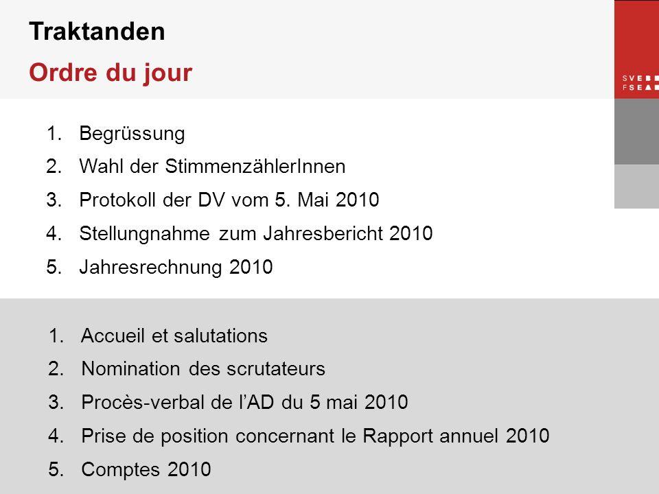 © SVEB/FSEA Traktanden Ordre du jour 1.Begrüssung 2.Wahl der StimmenzählerInnen 3.Protokoll der DV vom 5. Mai 2010 4.Stellungnahme zum Jahresbericht 2