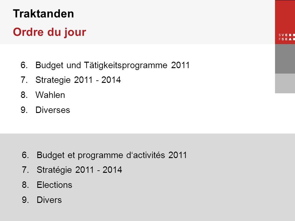 © SVEB/FSEA 6.Budget und Tätigkeitsprogramme 2011 7.Strategie 2011 - 2014 8.Wahlen 9.Diverses 6.Budget et programme dactivités 2011 7.Stratégie 2011 -