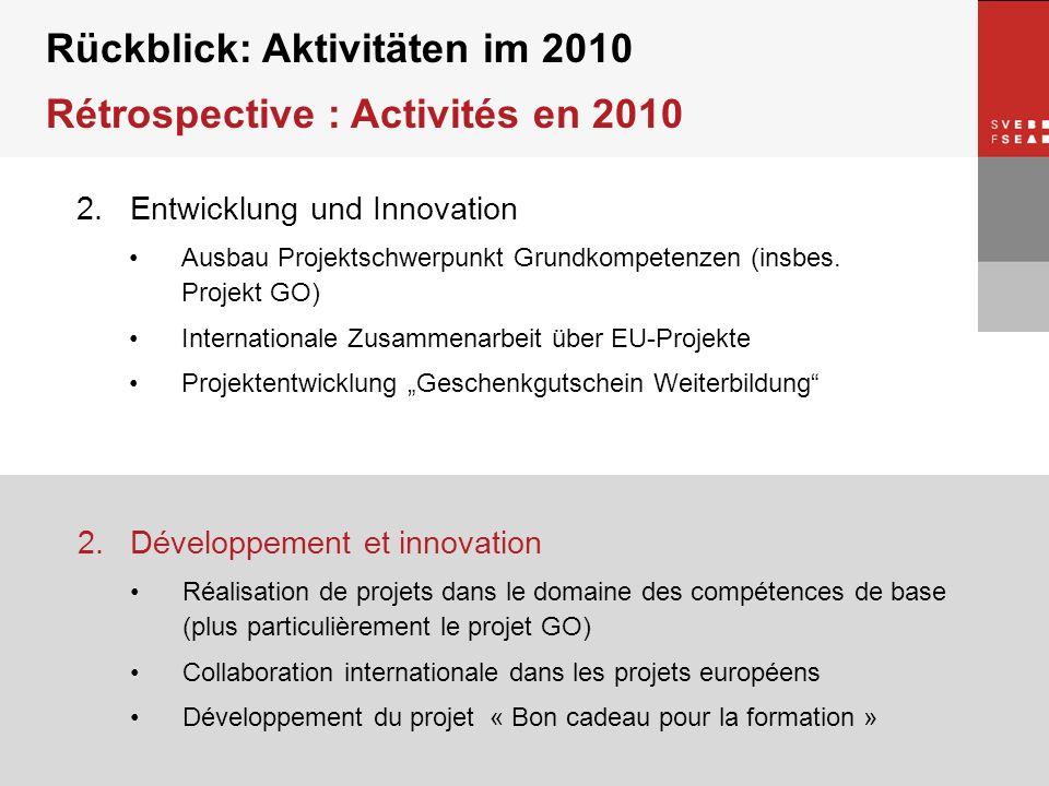 © SVEB/FSEA 2. Entwicklung und Innovation Ausbau Projektschwerpunkt Grundkompetenzen (insbes. Projekt GO) Internationale Zusammenarbeit über EU-Projek