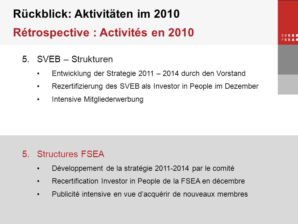 © SVEB/FSEA 5.SVEB – Strukturen Entwicklung der Strategie 2011 – 2014 durch den Vorstand Rezertifizierung des SVEB als Investor in People im Dezember