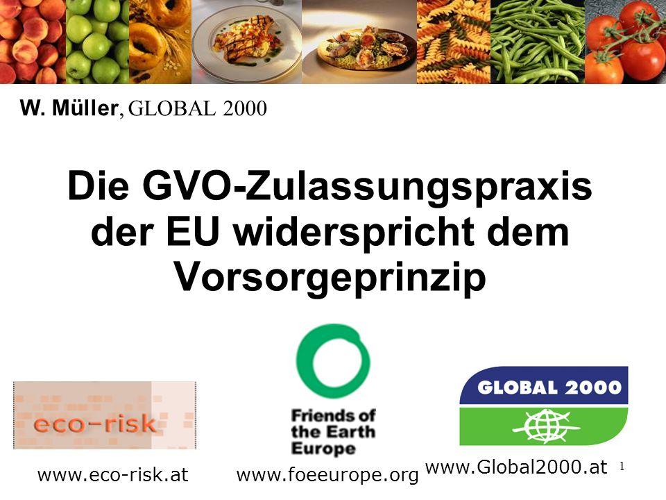 1 Die GVO-Zulassungspraxis der EU widerspricht dem Vorsorgeprinzip W.