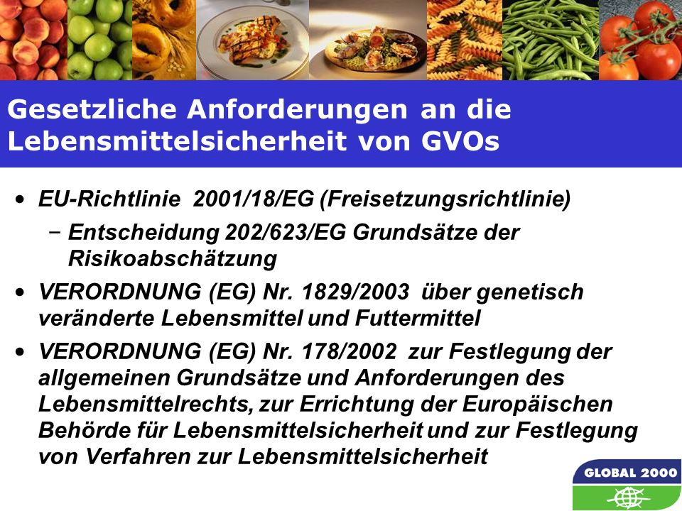 8 Gesetzliche Anforderungen an die Lebensmittelsicherheit von GVOs EU-Richtlinie 2001/18/EG (Freisetzungsrichtlinie) – Entscheidung 202/623/EG Grundsätze der Risikoabschätzung VERORDNUNG (EG) Nr.