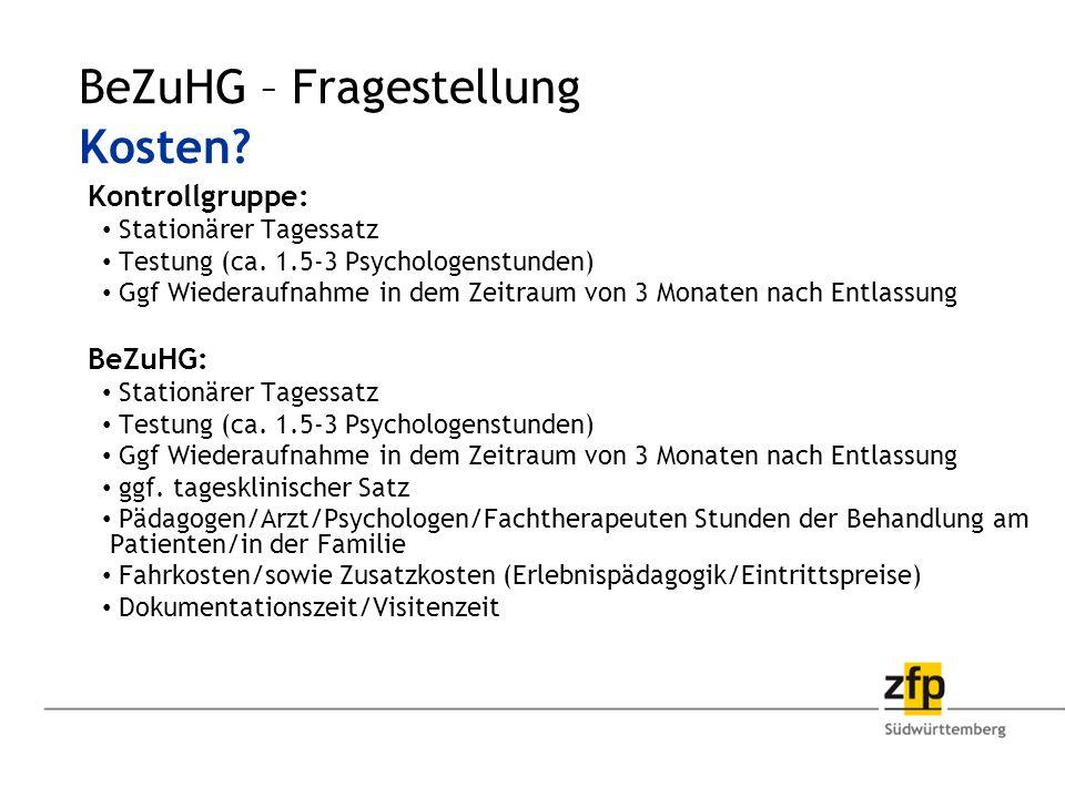 Kontrollgruppe: Stationärer Tagessatz Testung (ca.