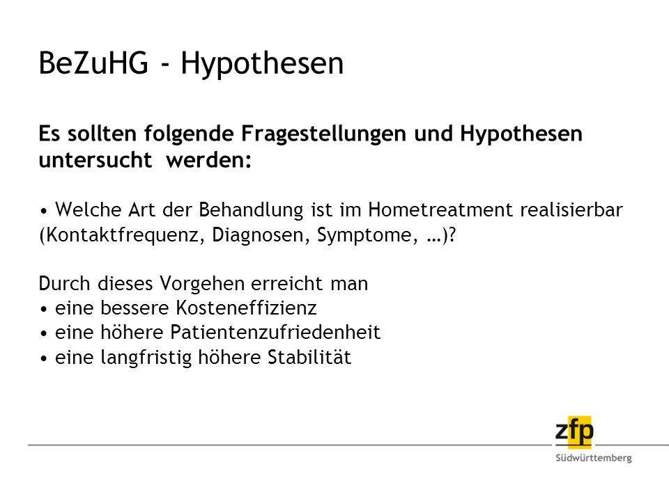 BeZuHG - Hypothesen Es sollten folgende Fragestellungen und Hypothesen untersucht werden: Welche Art der Behandlung ist im Hometreatment realisierbar (Kontaktfrequenz, Diagnosen, Symptome, …).