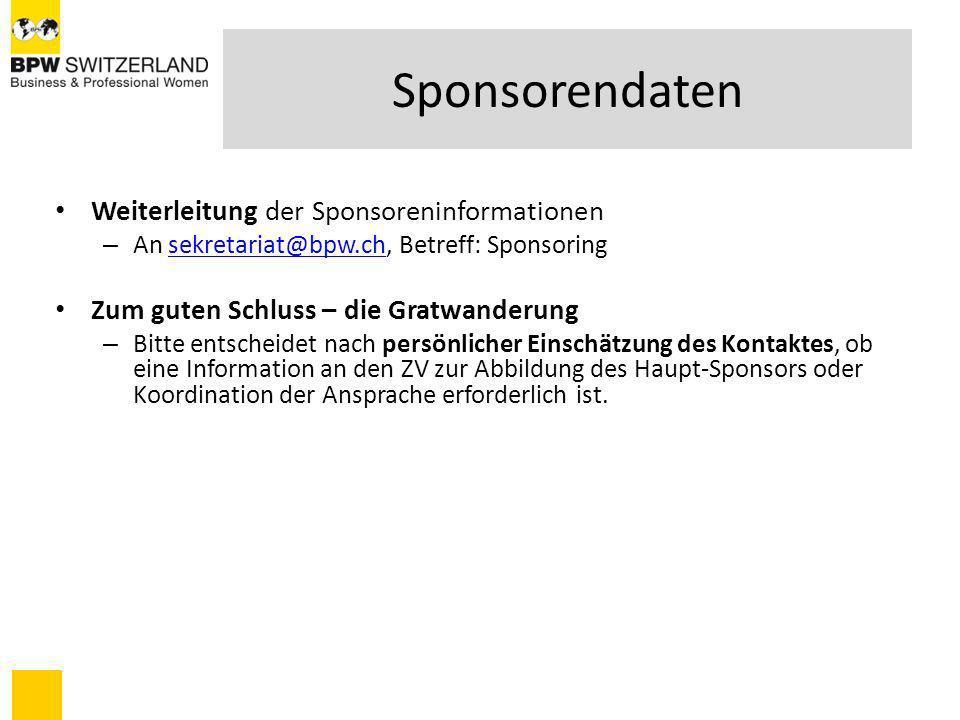 Sponsorendaten Weiterleitung der Sponsoreninformationen – An sekretariat@bpw.ch, Betreff: Sponsoringsekretariat@bpw.ch Zum guten Schluss – die Gratwan