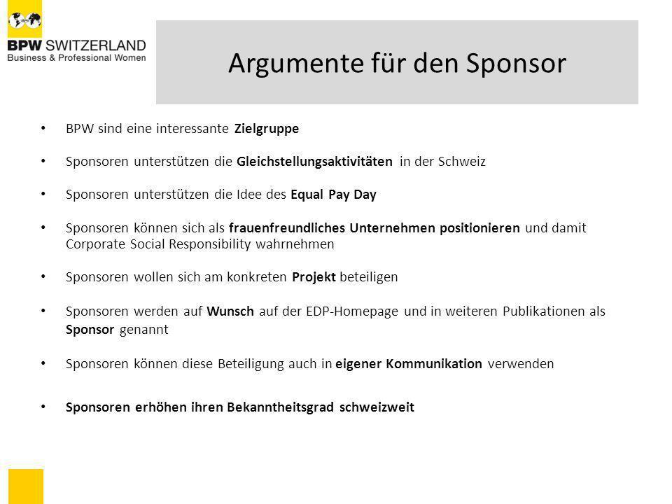 Argumente für den Sponsor BPW sind eine interessante Zielgruppe Sponsoren unterstützen die Gleichstellungsaktivitäten in der Schweiz Sponsoren unterst