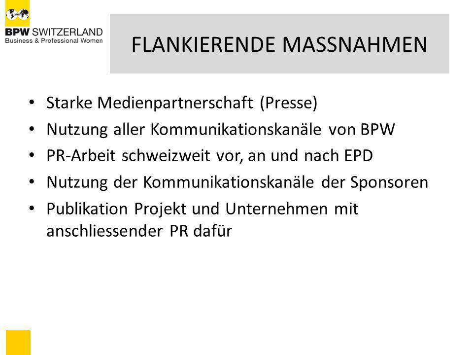 FLANKIERENDE MASSNAHMEN Starke Medienpartnerschaft (Presse) Nutzung aller Kommunikationskanäle von BPW PR-Arbeit schweizweit vor, an und nach EPD Nutz