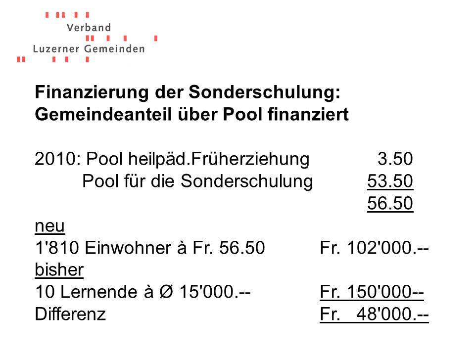 2010: Pool heilpäd.Früherziehung 3.50 Pool für die Sonderschulung53.50 56.50 neu 1 810 Einwohnerà Fr.
