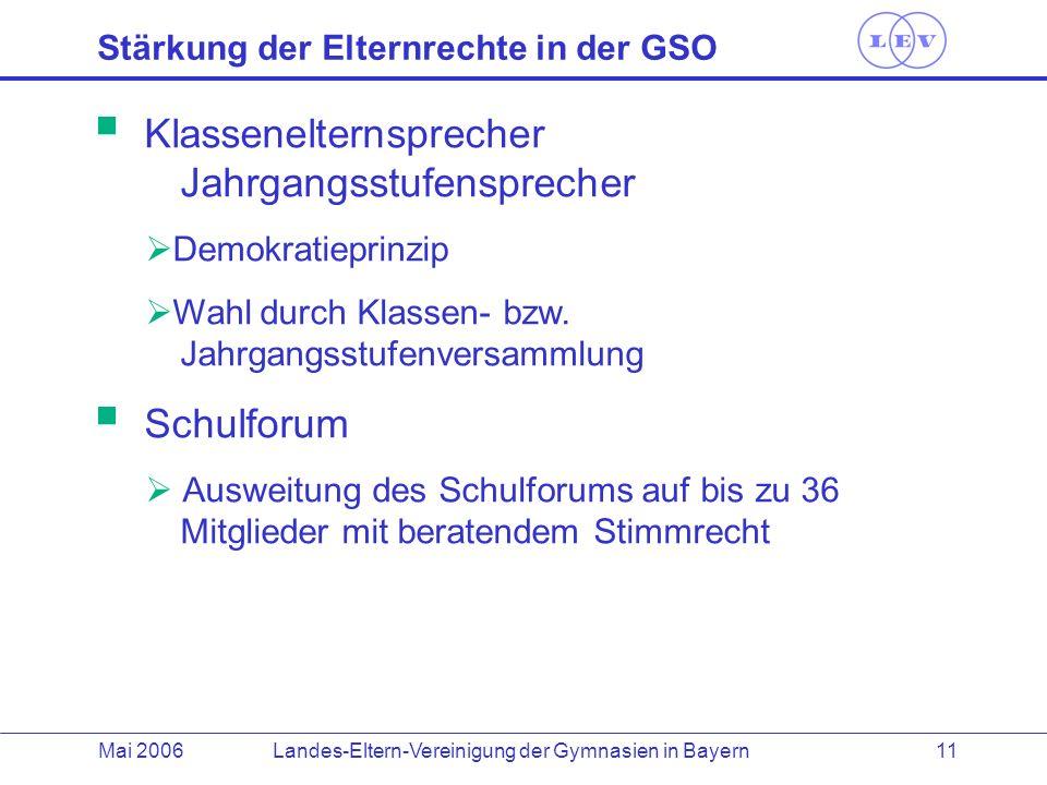 Landes-Eltern-Vereinigung der Gymnasien in BayernMai 2006 11 Stärkung der Elternrechte in der GSO Klassenelternsprecher Jahrgangsstufensprecher Demokr