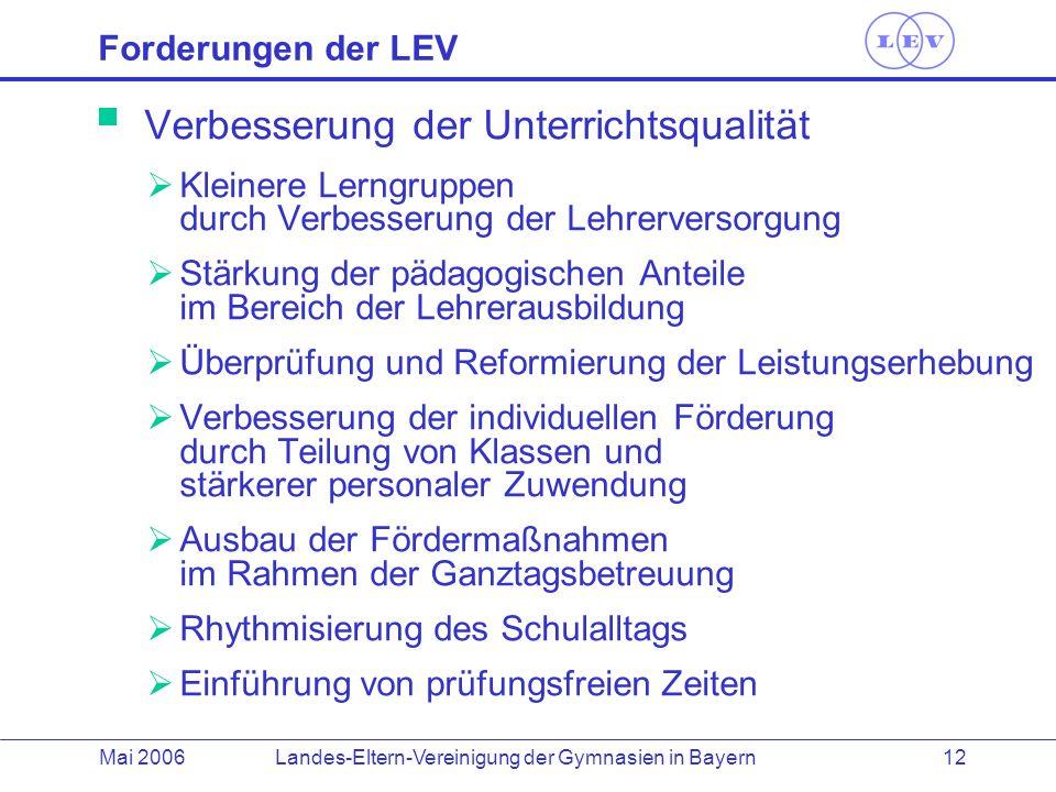 Landes-Eltern-Vereinigung der Gymnasien in BayernMai 2006 12 Verbesserung der Unterrichtsqualität Kleinere Lerngruppen durch Verbesserung der Lehrerve