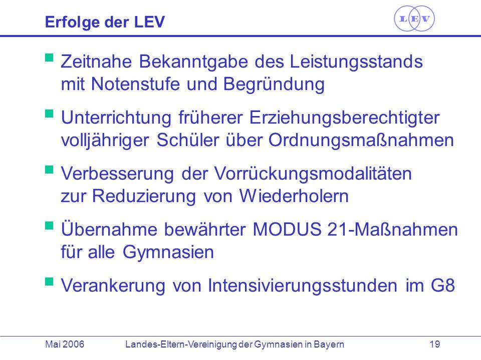 Landes-Eltern-Vereinigung der Gymnasien in BayernMai 2006 19 Erfolge der LEV Zeitnahe Bekanntgabe des Leistungsstands mit Notenstufe und Begründung Un
