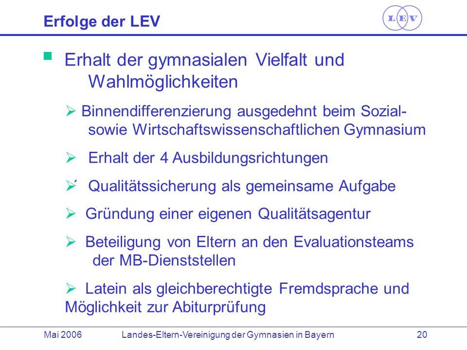 Landes-Eltern-Vereinigung der Gymnasien in BayernMai 2006 20 Erhalt der gymnasialen Vielfalt und Wahlmöglichkeiten Binnendifferenzierung ausgedehnt be