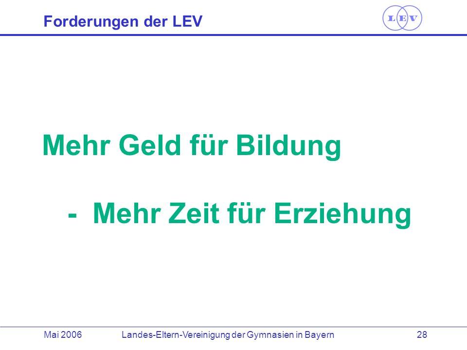 Landes-Eltern-Vereinigung der Gymnasien in BayernMai 2006 28 Forderungen der LEV Mehr Geld für Bildung - Mehr Zeit für Erziehung