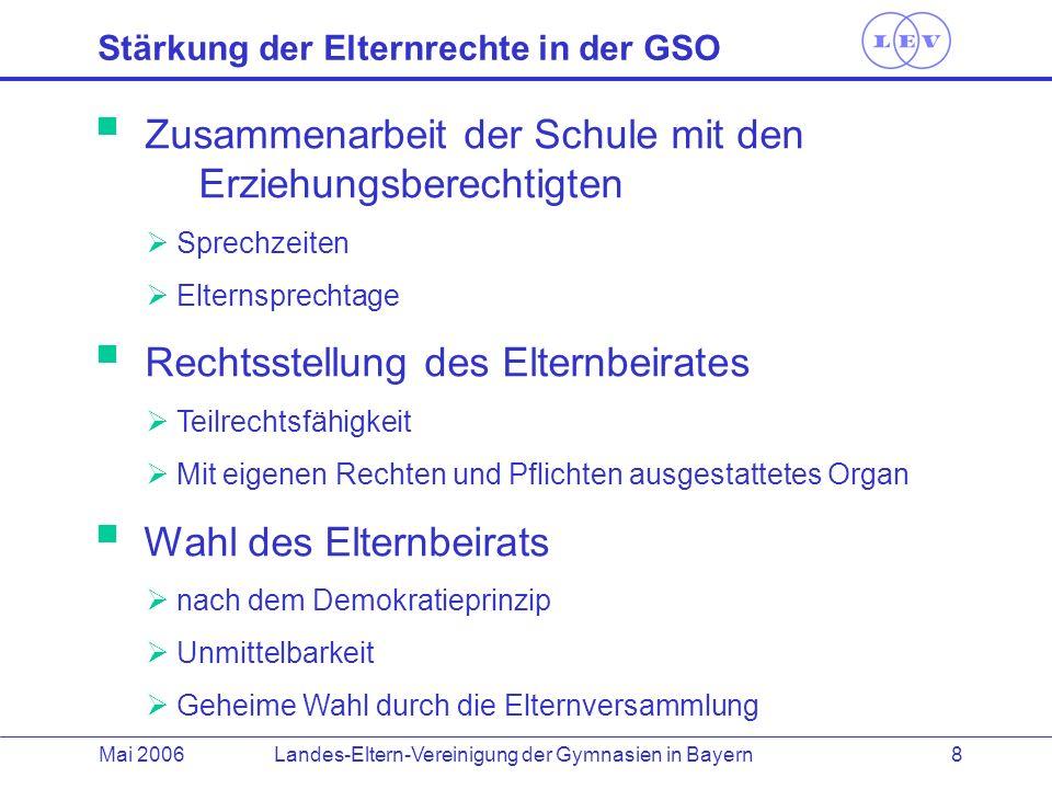 Landes-Eltern-Vereinigung der Gymnasien in BayernMai 2006 8 Stärkung der Elternrechte in der GSO Zusammenarbeit der Schule mit den Erziehungsberechtig