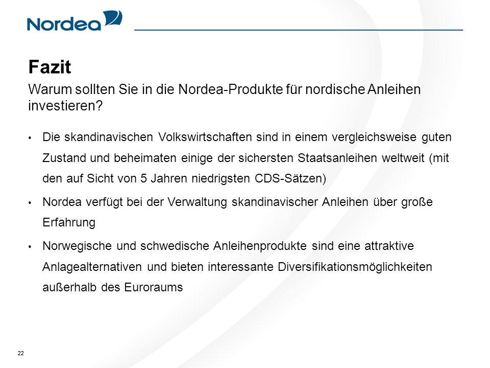 22 Fazit Warum sollten Sie in die Nordea-Produkte für nordische Anleihen investieren.