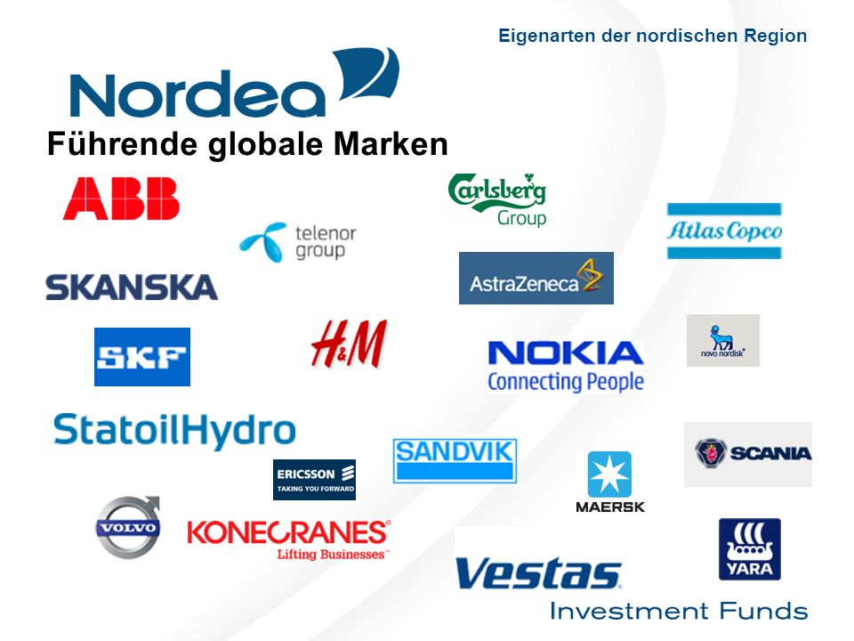 Führende globale Marken Eigenarten der nordischen Region