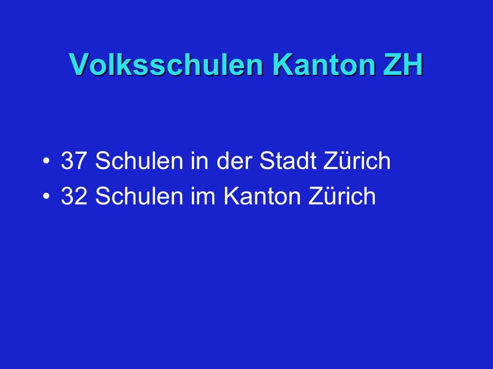 Volksschulen Kanton ZH 37 Schulen in der Stadt Zürich 32 Schulen im Kanton Zürich