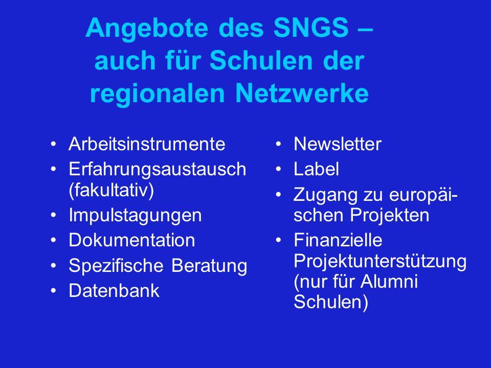 Angebote des SNGS – auch für Schulen der regionalen Netzwerke Arbeitsinstrumente Erfahrungsaustausch (fakultativ) Impulstagungen Dokumentation Spezifi