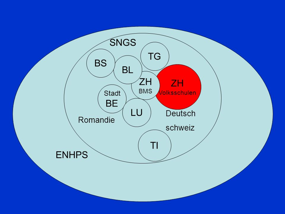 ZH Volksschulen TG Stadt BE TI ZH BMS BL LU BS ENHPS Romandie Deutsch schweiz SNGS