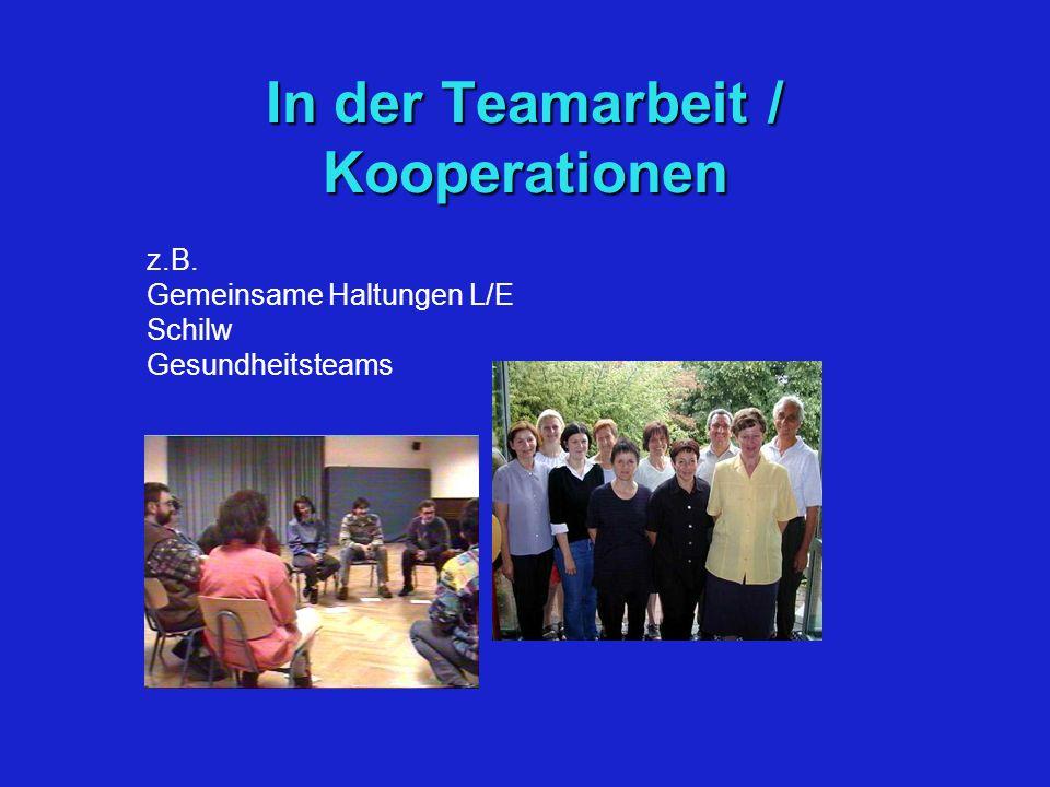 In der Teamarbeit / Kooperationen z.B. Gemeinsame Haltungen L/E Schilw Gesundheitsteams