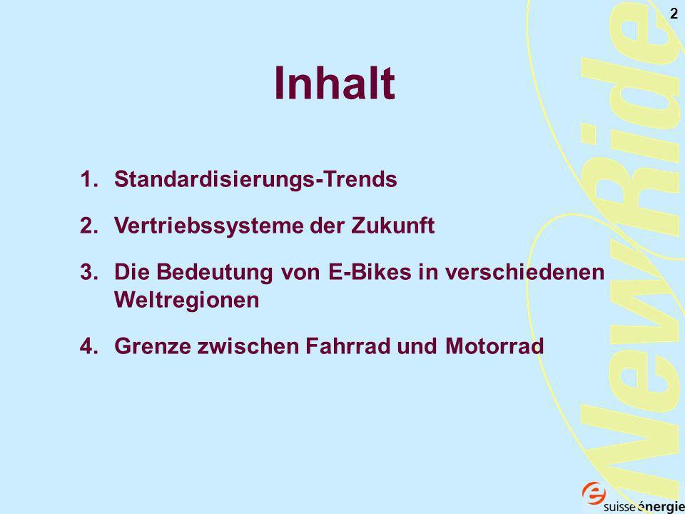 2 Inhalt 1.Standardisierungs-Trends 2.Vertriebssysteme der Zukunft 3.Die Bedeutung von E-Bikes in verschiedenen Weltregionen 4.Grenze zwischen Fahrrad und Motorrad