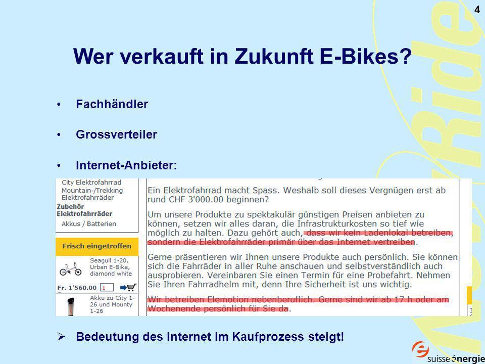 4 Fachhändler Wer verkauft in Zukunft E-Bikes.