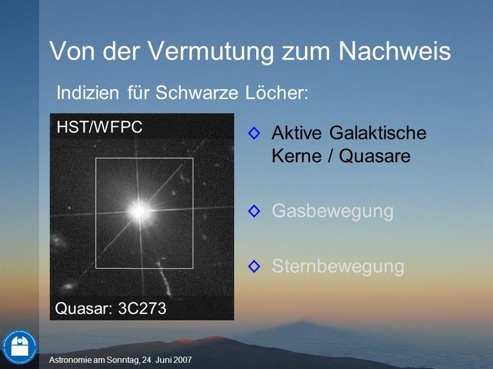 Astronomie am Sonntag, 24. Juni 2007 Aktive Galaktische Kerne / Quasare Gasbewegung Sternbewegung Von der Vermutung zum Nachweis Indizien für Schwarze