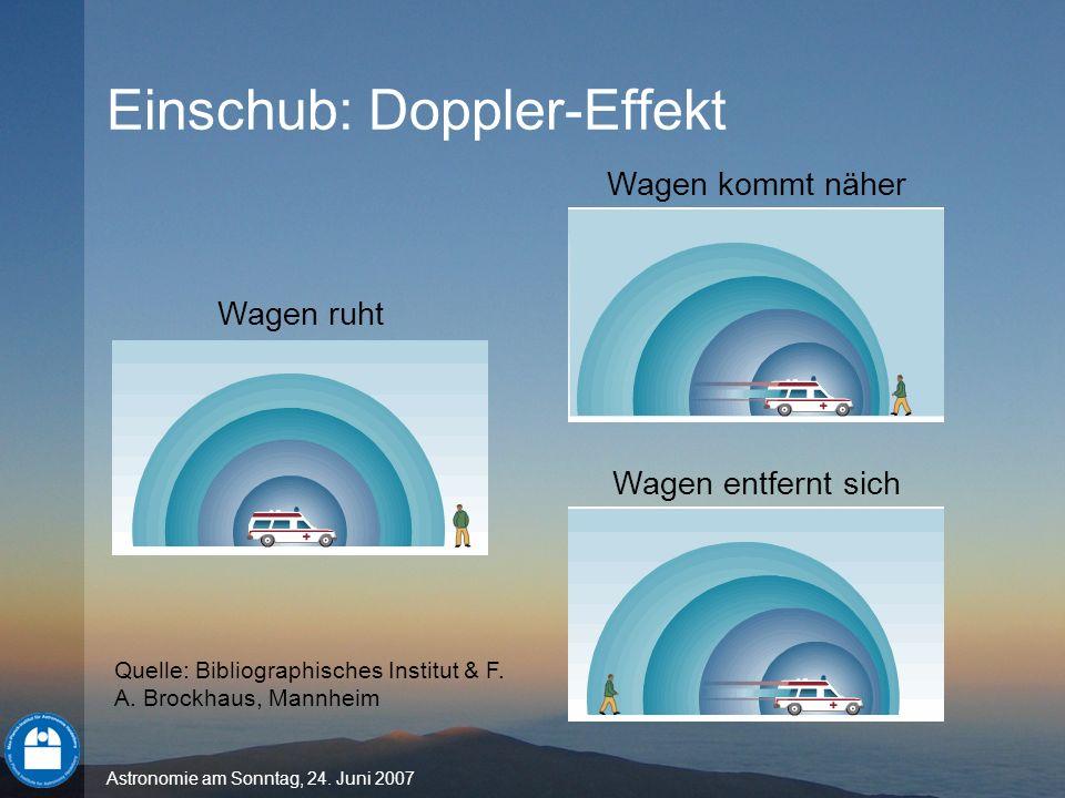 Astronomie am Sonntag, 24. Juni 2007 Einschub: Doppler-Effekt Wagen ruht Wagen kommt näher Wagen entfernt sich Quelle: Bibliographisches Institut & F.
