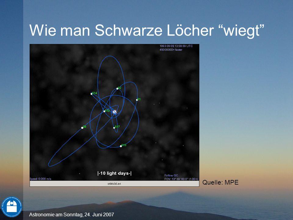 Astronomie am Sonntag, 24. Juni 2007 Wie man Schwarze Löcher wiegt Quelle: MPE