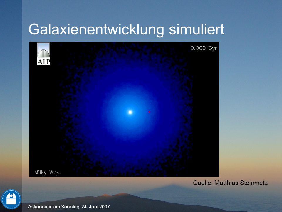 Astronomie am Sonntag, 24. Juni 2007 Galaxienentwicklung simuliert Quelle: Matthias Steinmetz