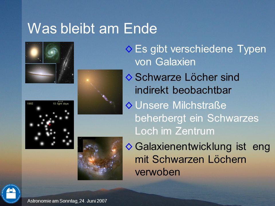 Astronomie am Sonntag, 24. Juni 2007 Was bleibt am Ende Es gibt verschiedene Typen von Galaxien Schwarze Löcher sind indirekt beobachtbar Unsere Milch